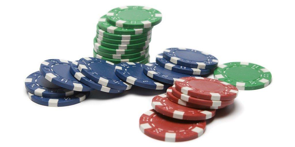 poker chips blue green red