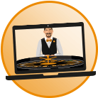 roulette wheel and dealer icon